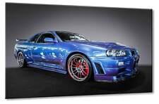 Leinwand Bild Nissan Skyline R34 GT-R V-Spec GT A GTR Blau Supersportwagen Kunst