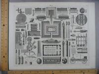 Rare Antique Orig VTG 1850's Weapon Machine Military Diagram Engraved Art Print