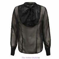 Womens Ladies Chiffon Blouse Pussy Bow Tie Neck Sheer Top Long Sleeves Shirt
