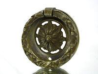 1 Vintage Brass Flower Round Dresser Drawer Cabinet Handle Pull Hardware Ornate