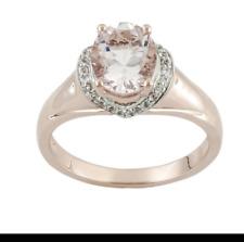 1.57ct Oval Cor-de-rosa Morganite™  .16ctw Round White Zircon 10k Gold Ring 8