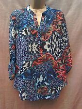 Wallis chiffon tunic blouse top size S animal print blue holiday