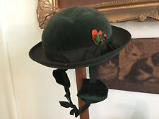 Vintage Dark Green Velvet Bowler Hat Green Silk Ribbon Bow Feather Chin Strap