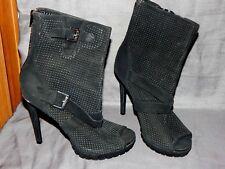 Womens size 7M Juicy Coutour black suede peep toe platform high heels boots shoe