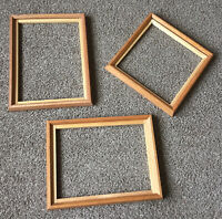 Vintage Oak PICTURE FRAME Lot Set 2 - 12x16 & 12x12 Art Embroidery Craft Deco