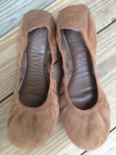 Tory Burch brown suede leather women ballet flats shoes  size 8.5 M