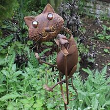 Rocking Metal Cat Animal Garden Ornament Moving Mobile Style Outdoor Feature