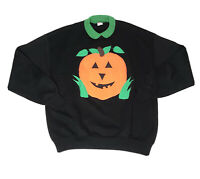 Vtg Halloween Pumpkin Crewneck Collared Sweatshirt Mens Xl Usa Made Jerzees Rare
