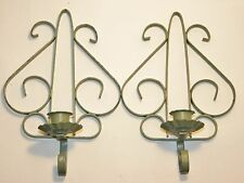 2 Shabby Green Vintage Chic Wall Sconce Candle Holders Paris Apt Scroll