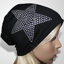 Long Beanie Mütze Damen Wintermütze Skimütze Damenmütze Stern Schwarz