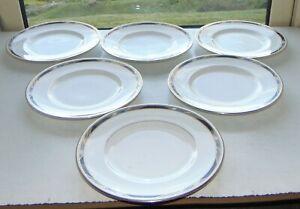 Royal Worcester Fine Bone China Raffles Pattern 6 x Dessert Plates 21cm 1984