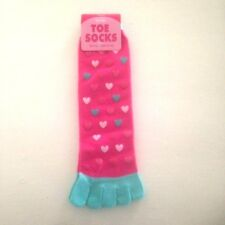 LADIES,GIRLS Super Soft TOE SOCKS Size 4-6.  Pink with heart design, ideal gift