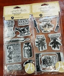 Graphic 45 HOME SWEET HOME Lot of 2 Stamp sets
