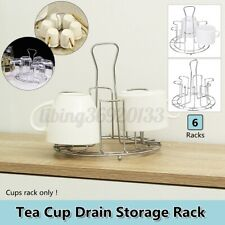 6 Tea Cup Drain Rack Holder Tree Coffee Cup Hanger Storage Stand Metal Kitchen