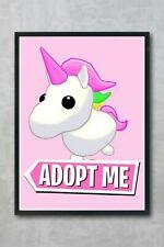 ROBLOX adopt Me Unicorn, Girls Room, A4 High quality 260gsm. art print poster