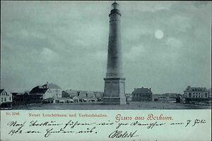 BORKUM ~1900 Mondscheinkarte Leuchtturm u. Verkaufshallen Lighthouse Nordsee