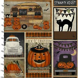 3 WISHES SPOOKY NIGHT HALLOWEEN PATCHWORK 100% COTTON 18111-MLT