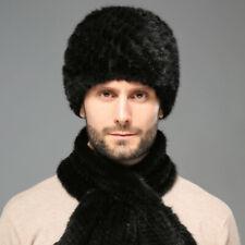 100% Real Mink Fur Men's Fur Hat +Mink Scarf Fur Muffler Knitted Hat Outdoor New