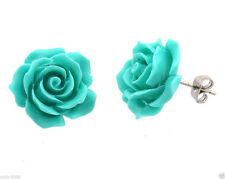 Fashion Jewelry Turquoise Blue Rose Flower 925 S Silver Stud Earrings