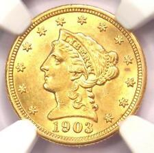 1903 Liberty Gold Quarter Eagle $2.50 Coin - NGC MS61 (BU UNC) - Rare Coin!