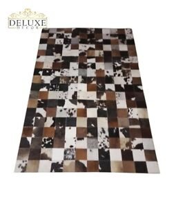 Large Cowhide Rug Patchwork Tricolor Rectangle Area Rug Natural Hair on Cow Hide