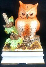 Owl Music Box Vintage Royal Crown Wind Up Porcelain Collectible Figurine Figure