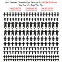 190ps Car Body Trim Clips Retainer Bumper Rivets Screws Panel Push Fastener Kit