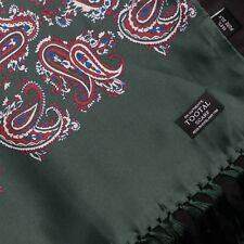 Tootal Vintage Paisley 100% Silk Fringed Scarf in Forest Green Mod