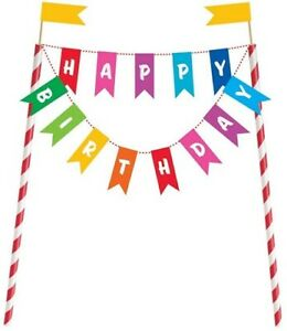 Unique Party 49578 - Rainbow Birthday Cake Bunting Topper UK FREE DELIVERY