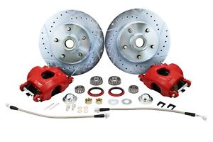 1960-72 CHEVY C10 TRUCK DELUXE FRONT DISC BRAKE WHEEL COMPONENT KIT, 5-LUG, RED