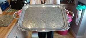 An Antique Silver Plated serving tray with beautiful chased patterns,sheffield.