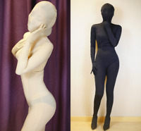 Unisex Ice Silk 2 Way Zipper Zentai Party Costume Bodysuit hood gloves Anti-Hook