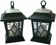 2x Solar Led Traditional Flickering Candle Coach Lantern Hanging Lights Garden