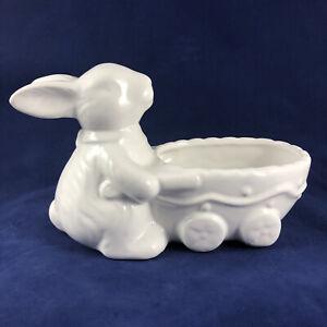 White Ceramic Bunny Figure w Egg Wheelbarrow Cart Wagon Easter Candy Dish Bowl