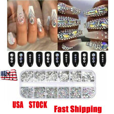 1 Box Crystal Rhinestone 3D Glitter Jewelry Glass Diamond Gems Nail Art Decor-Ro