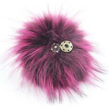 1pc 5inch Large Faux Raccoon Fur Pom Pom Ball with Snap Button Knitting Hat DIY