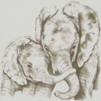 Cross Stitch Chart - Kit Elephant Mum and Baby