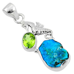 8.80cts Natural Sleeping Beauty Turquoise Raw Silver Seahorse Pendant R66959