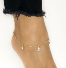 14k Gold Fancy Two-Tone Sun, Moon & Stars Gold Anklet Adjustable 9 or 10 Inches