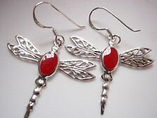 Red Coral Dragonfly Filigree 925 Sterling Silver Dangle Earrings Corona Sun