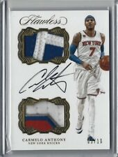 2016/17 Panini Flawless NBA CARMELO ANTHONY Dual Patch Auto Gold SSP 5/10