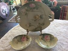 R.S. GERMANY  Set Of 3 Handpainted Berry Bowls With Pink And White Roses