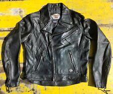 HARLEY DAVIDSON BLACK LEATHER MOTORCYCLE JACKET MEN'S SZ MEDIUM
