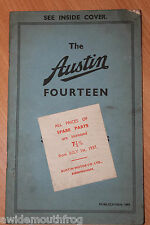 Austin Fourteen Spare Parts Price List Publication Number 1499 1936