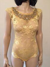 Ret $530 La Perla Yellow Lace Bodysuit Size S Italy NWT