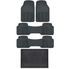 BPA Free No-Smell Rubber Floor Mats Set Heavy Duty Runners Cargo Liner Black Set