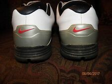 Pre-Owned Nike Lunar Saddle Golf Shoes, 551456-100, Size 13 White/ Silver/Black