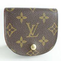 LOUIS VUITTON PORTE MONNAIE GOUSSET Coin Case Wallet Purse Monogram M61970 Brown