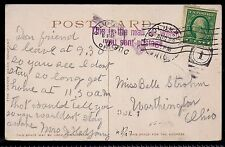 1910 Columbus, Ohio to Worthington, OH - Due 1 - Mail For Which You Sent Postage