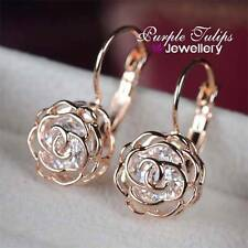 18CT Rose Gold GP Hollow Out Rose Hoop Earrings Made With Swarovski Crystals